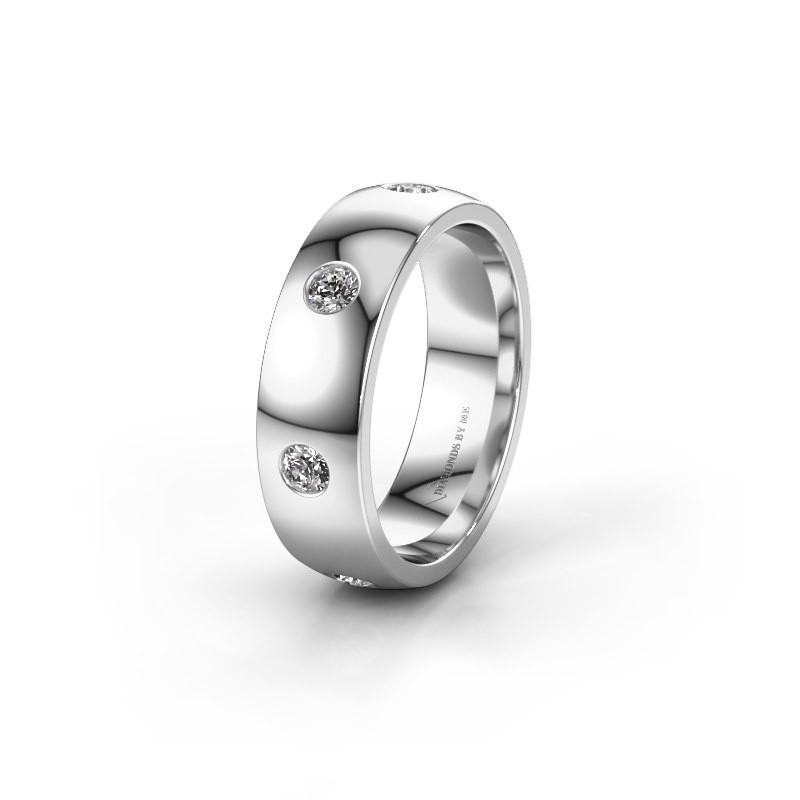 Trouwring WH0105L26BP 585 witgoud diamant ±6x2 mm