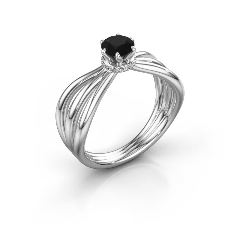 Verlovingsring Kimi 925 zilver zwarte diamant 0.675 crt
