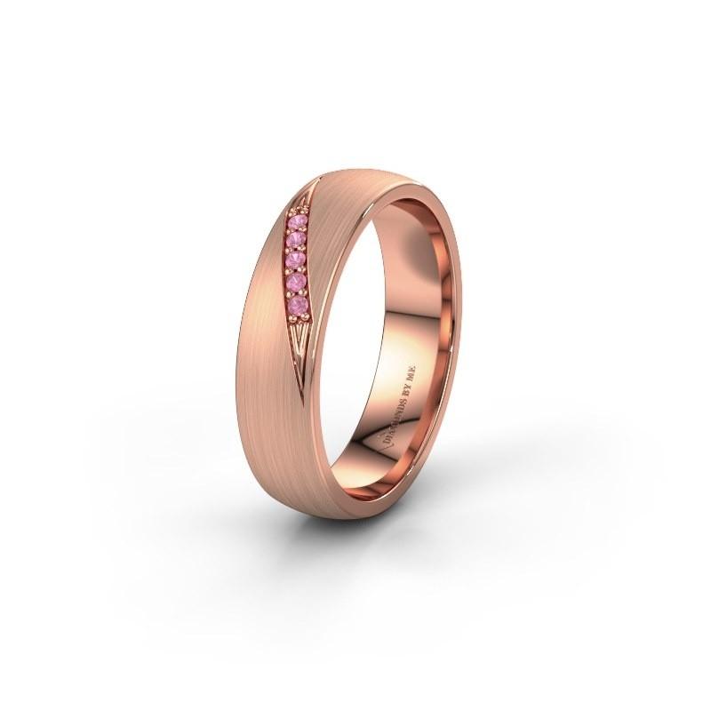 Trouwring WH2150L25AM 585 rosé goud roze saffier ±5x1.7 mm