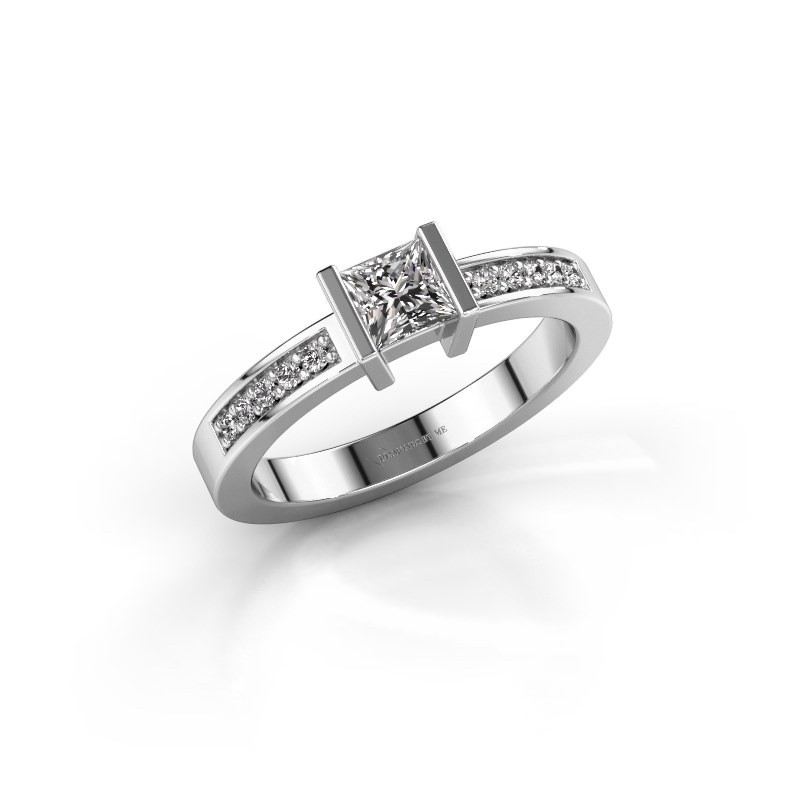 Aanzoeksring Jordan 585 witgoud diamant 0.50 crt