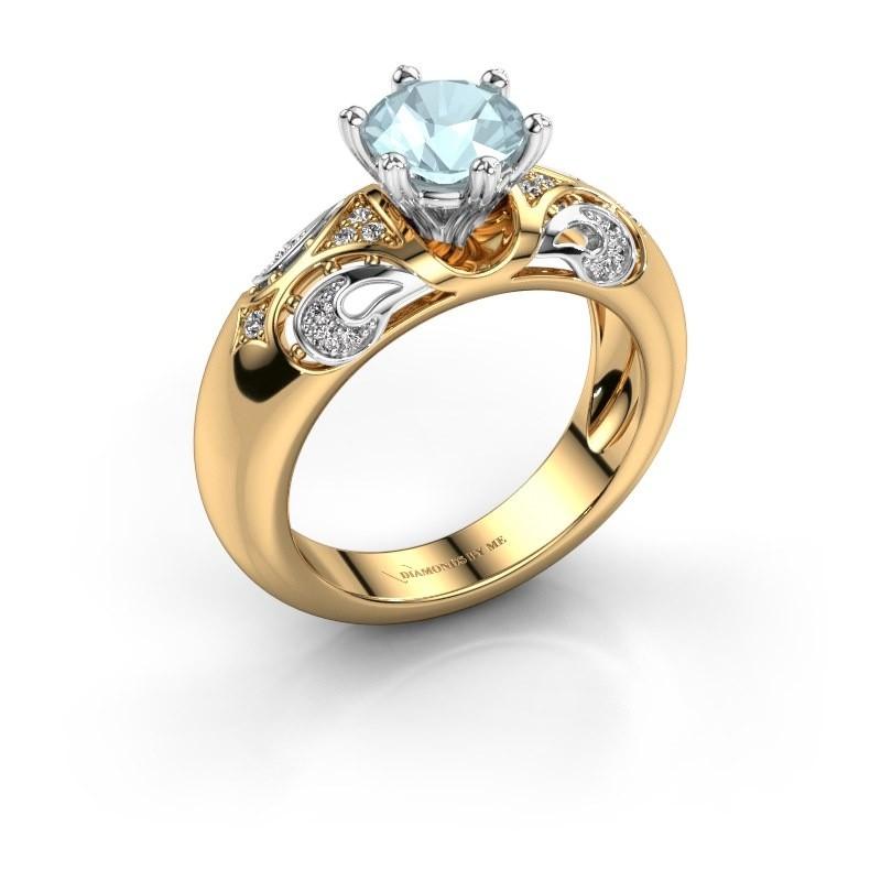 Ring Maya 585 goud aquamarijn 6.5 mm