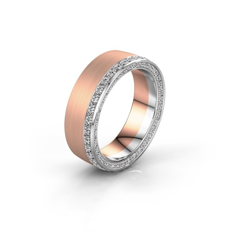 Trouwring WH2224L26C8 585 rosé goud zirkonia 1.3 mm ±6x2.2 mm