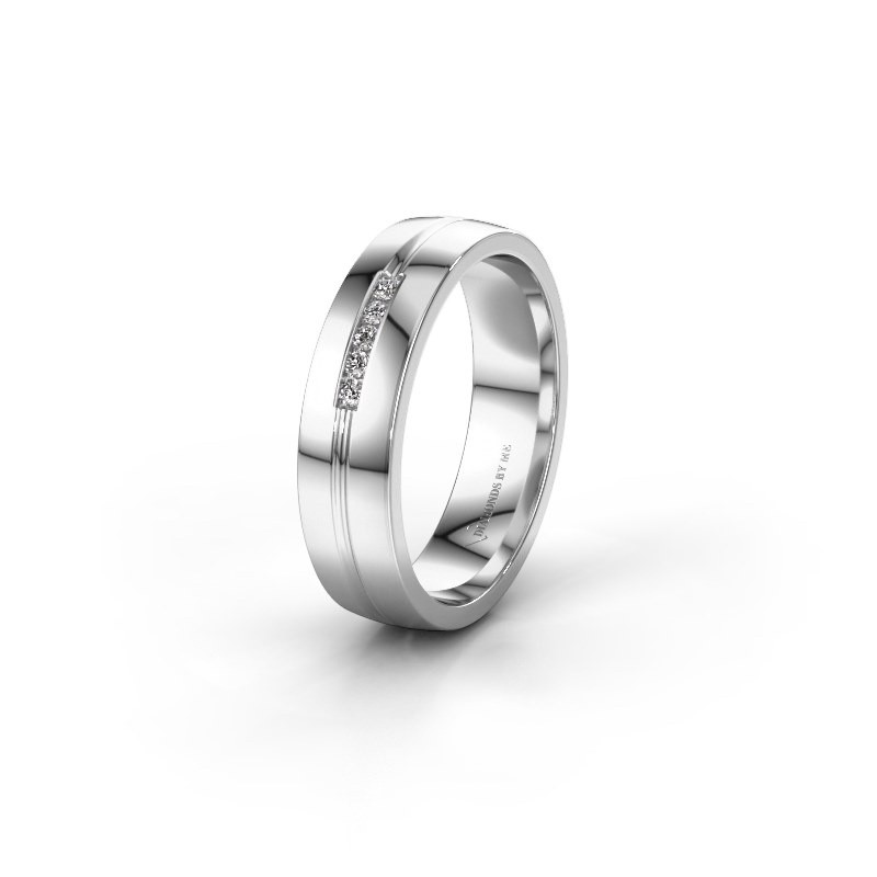Trouwring WH0132L25B 585 witgoud lab created ±5x2 mm