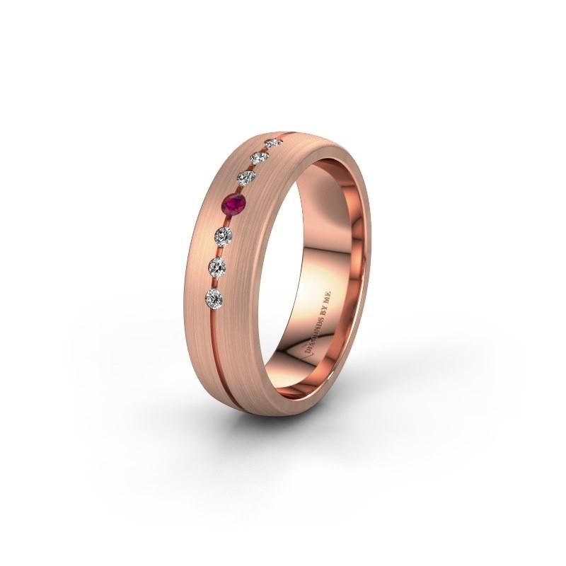 Trouwring WH0162L25A 585 rosé goud rhodoliet ±5x1.7 mm