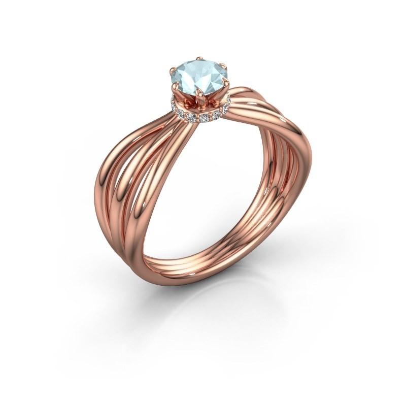Verlovingsring Kimi 585 rosé goud aquamarijn 5 mm