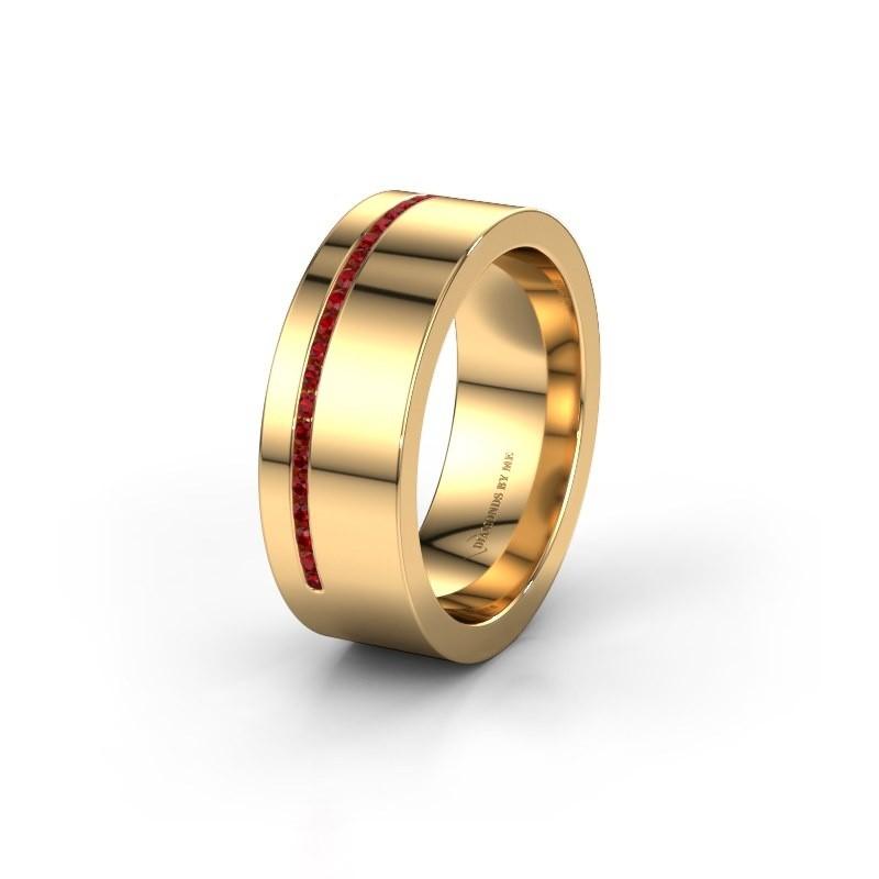 Trouwring WH0143L17BP 585 goud robijn ±7x2 mm