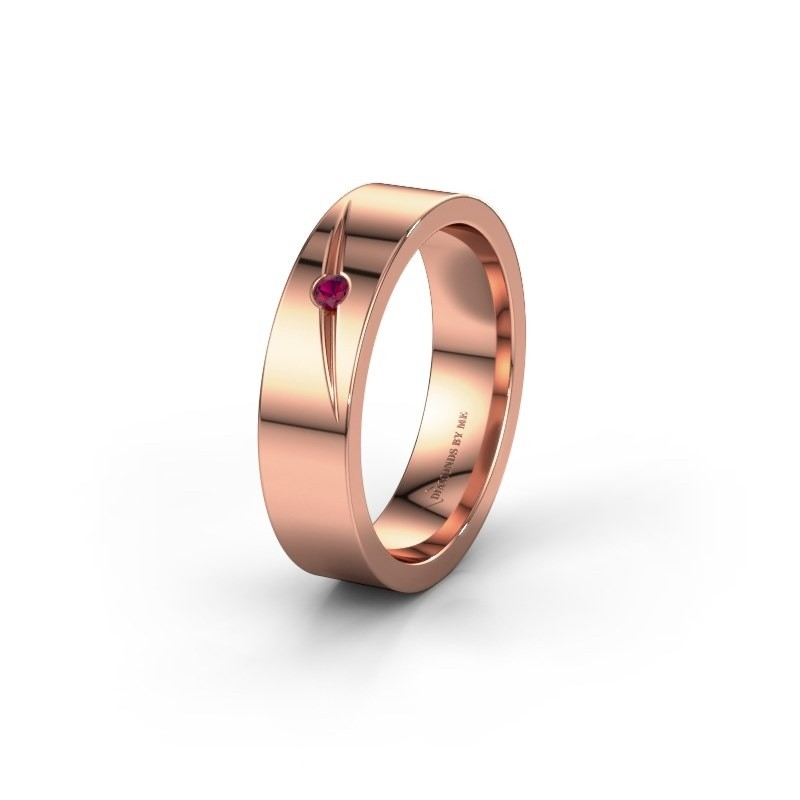 Trouwring WH0170L15A 585 rosé goud rhodoliet ±5x1.7 mm
