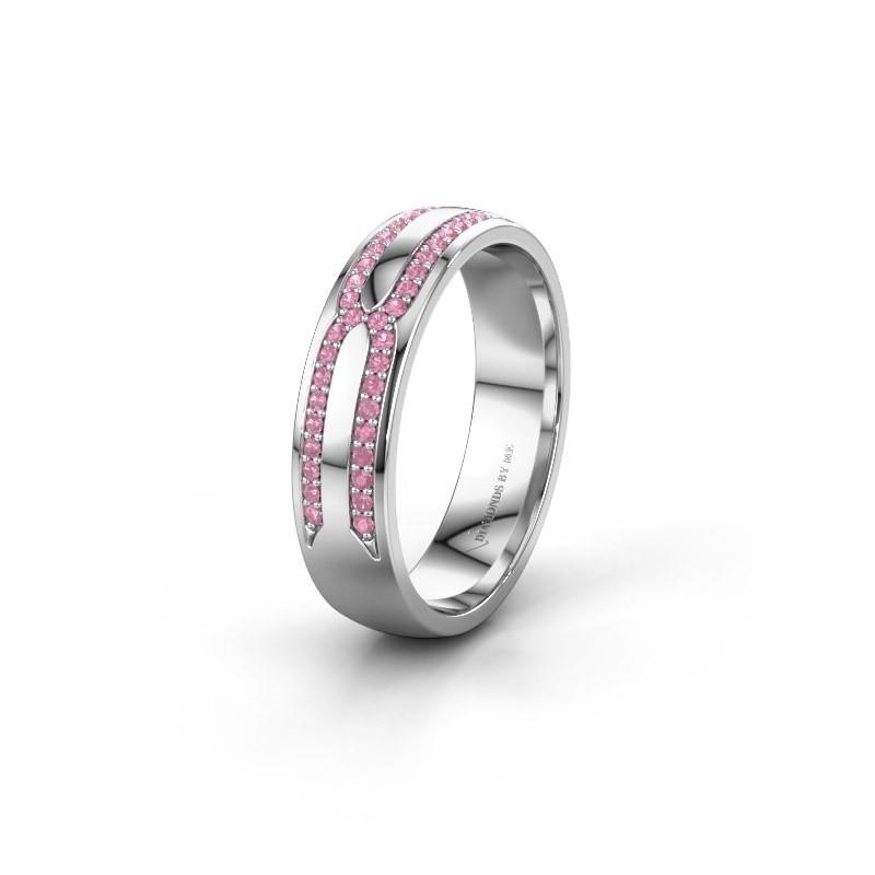 Trouwring WH2212L25AP 585 witgoud roze saffier ±5x1.7 mm