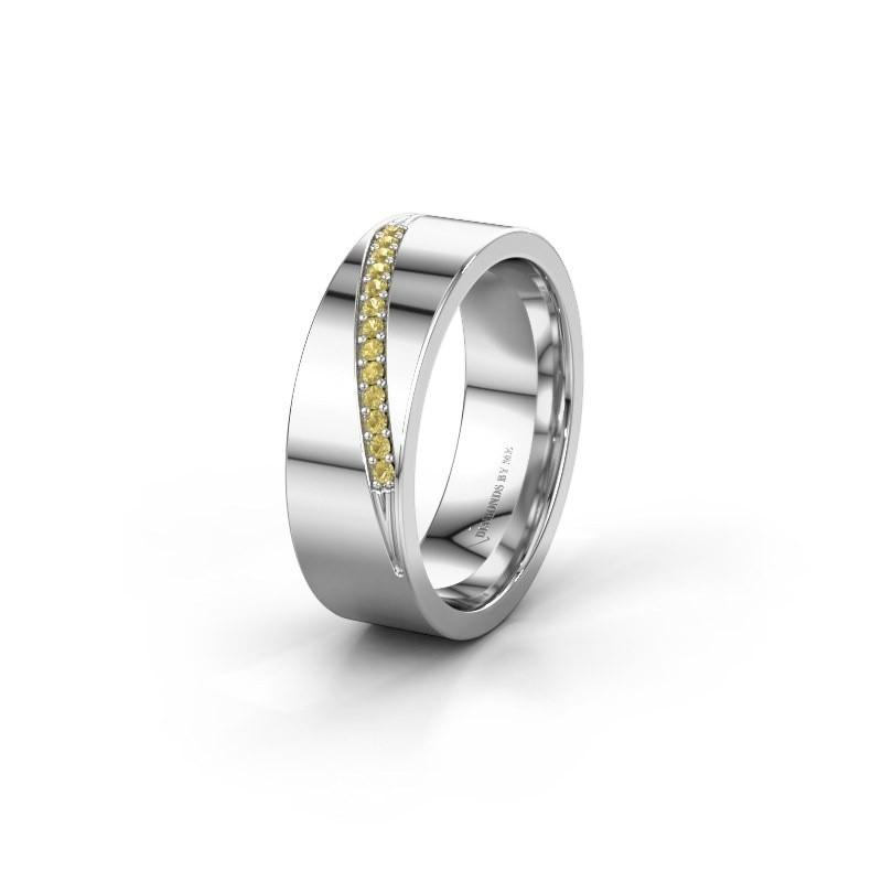 Trouwring WH2146L17A 925 zilver gele saffier ±7x1.7 mm