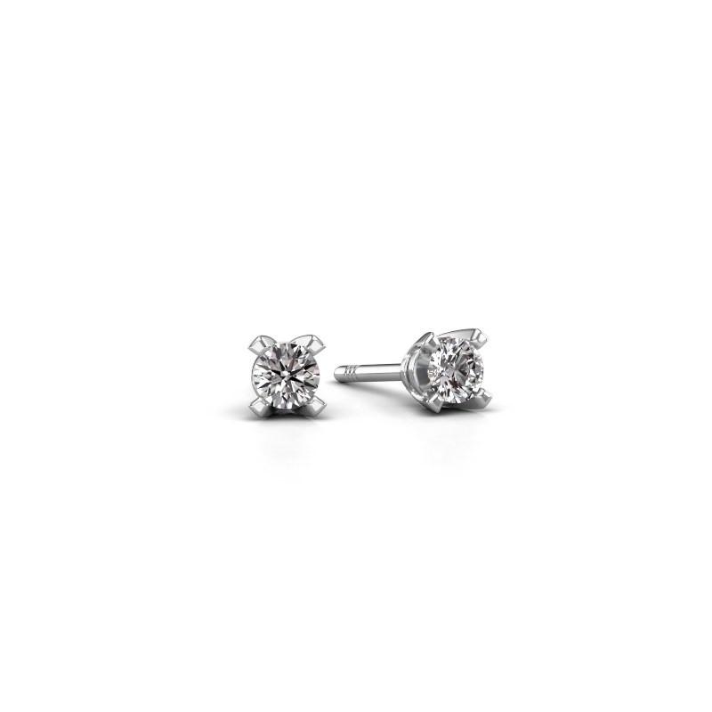 Oorstekers Isa 585 witgoud diamant 0.20 crt