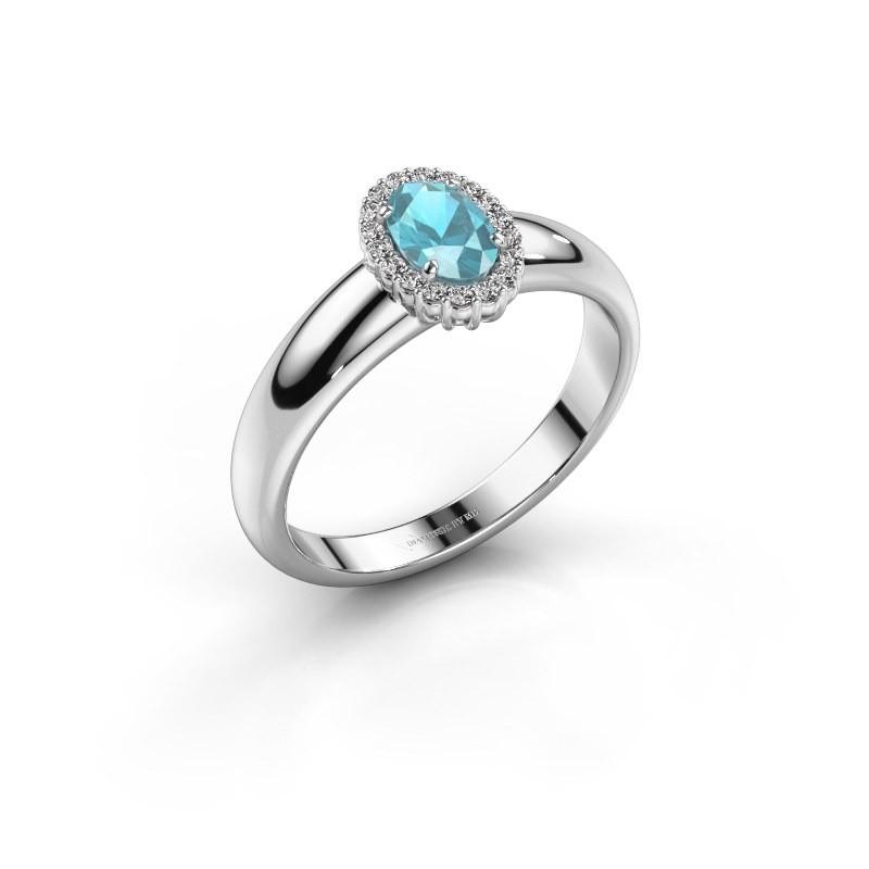 Engagement ring Tamie 585 white gold blue topaz 6x4 mm