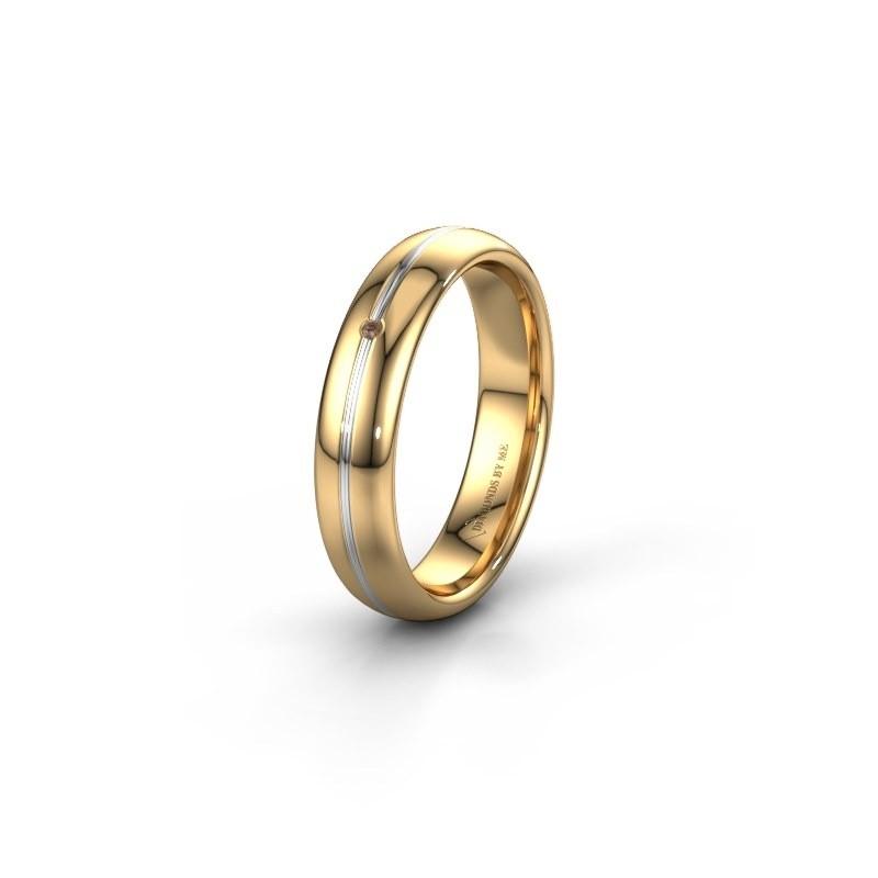Trouwring WH2142L34A 585 goud bruine diamant ±4x1.7 mm