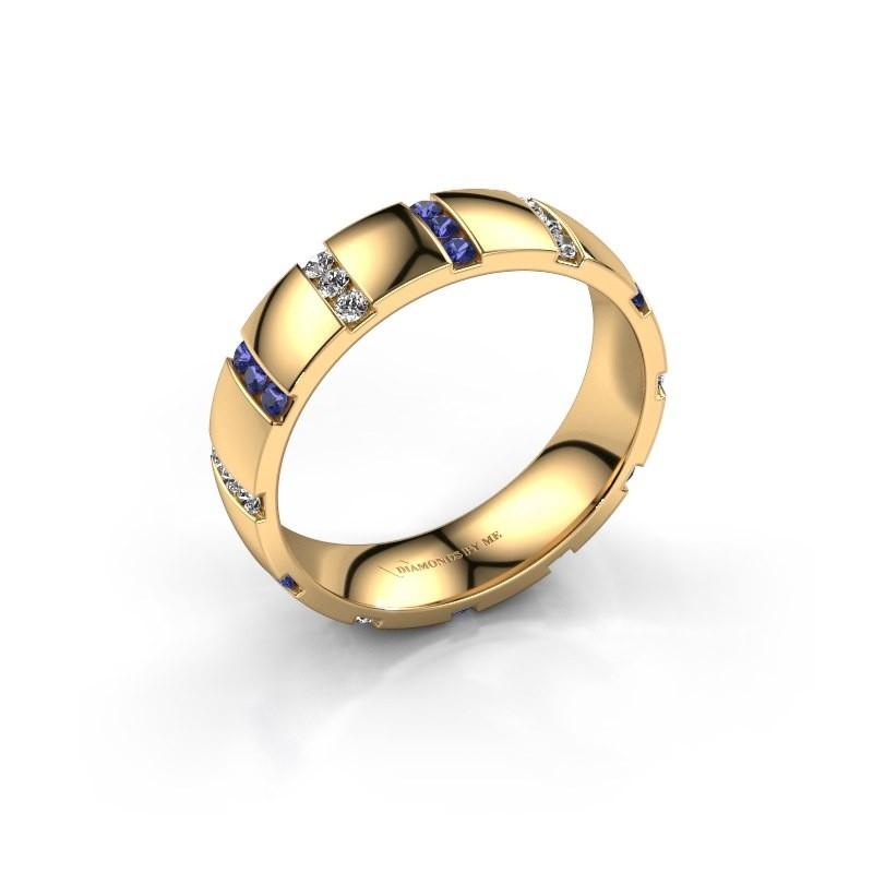 Huwelijksring Juul 375 goud saffier ±5x1.8 mm