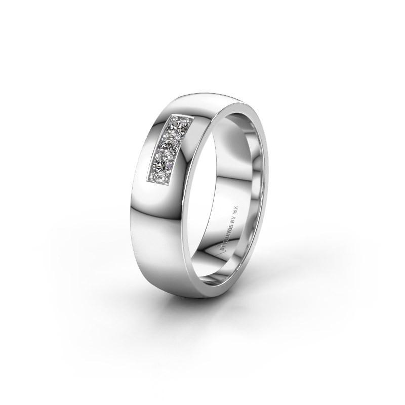 Trouwring WH0110L26BP 585 witgoud diamant ±6x2 mm