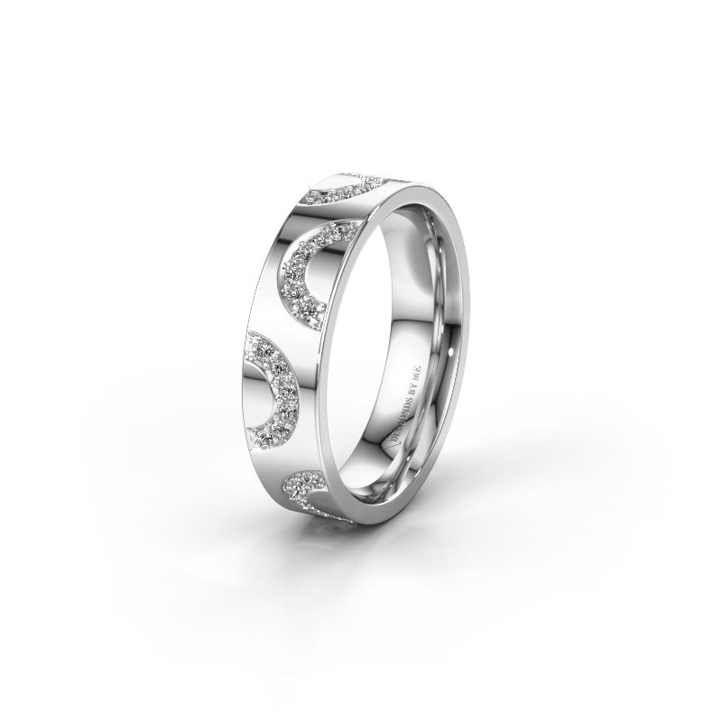 Trouwring WH0136L15BP 585 witgoud diamant ±5x2 mm