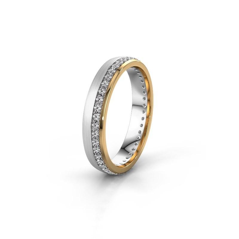 Trouwring WH0303L24AM 585 witgoud diamant ±4x1.7 mm