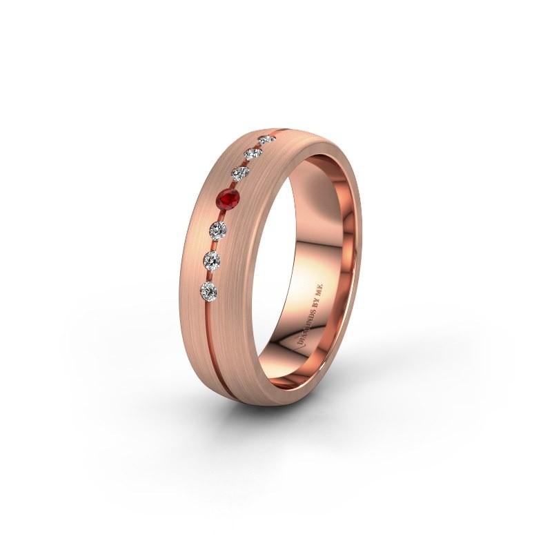 Trouwring WH0162L25A 585 rosé goud robijn ±5x1.7 mm