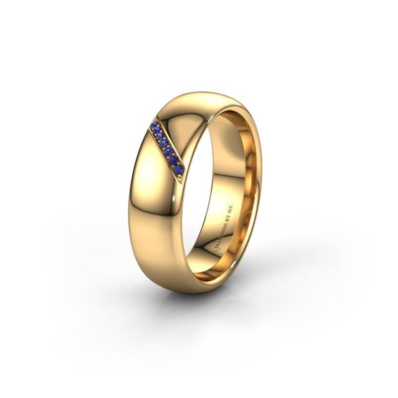 Trouwring WH0164L36B 585 goud saffier ±6x2 mm