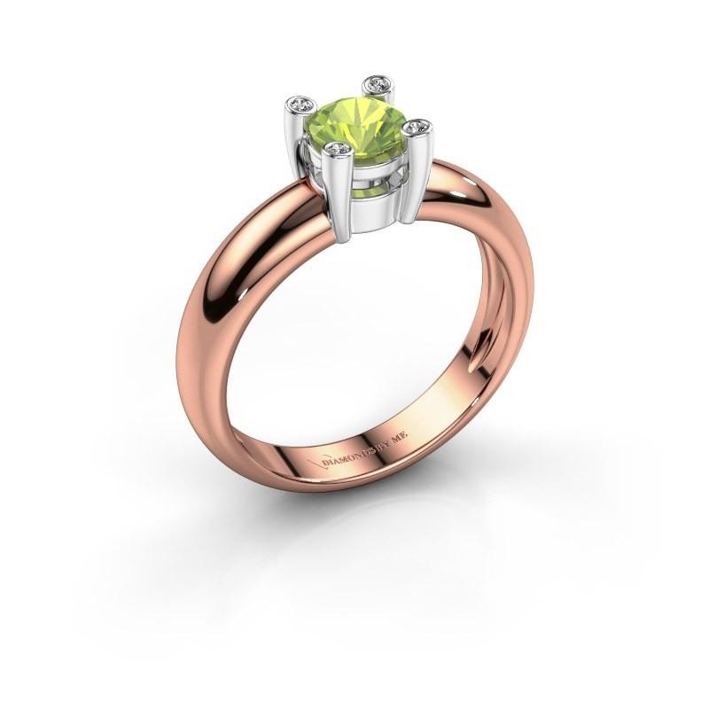Ring Fleur 585 rosé goud peridoot 5 mm