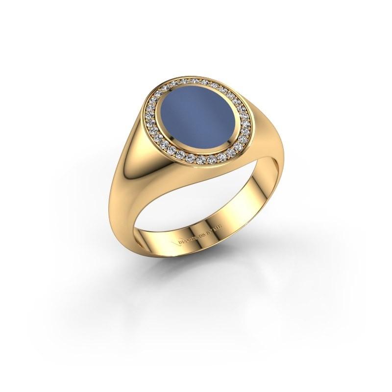 Pinkring Adam 1 585 goud blauw lagensteen 10x8 mm