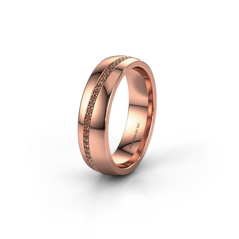 Trouwring WH0109L25A 585 rosé goud bruine diamant ±5x1.7 mm