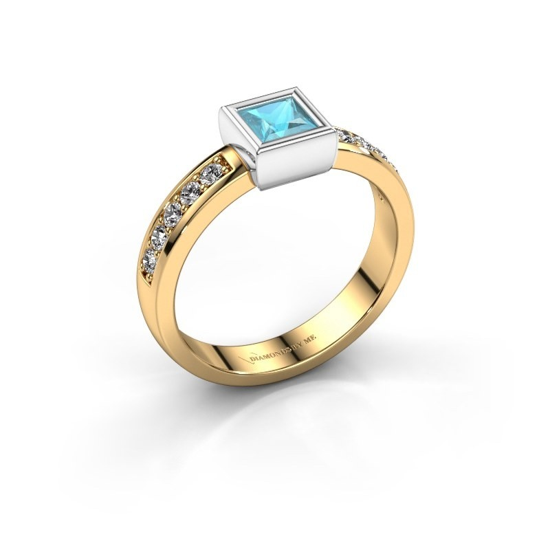 Ring Aimee 2 585 goud blauw topaas 4 mm