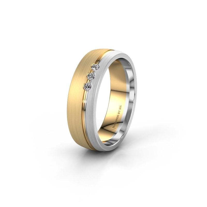 Trouwring WH0322L25AM 585 goud diamant ±6x1.7 mm