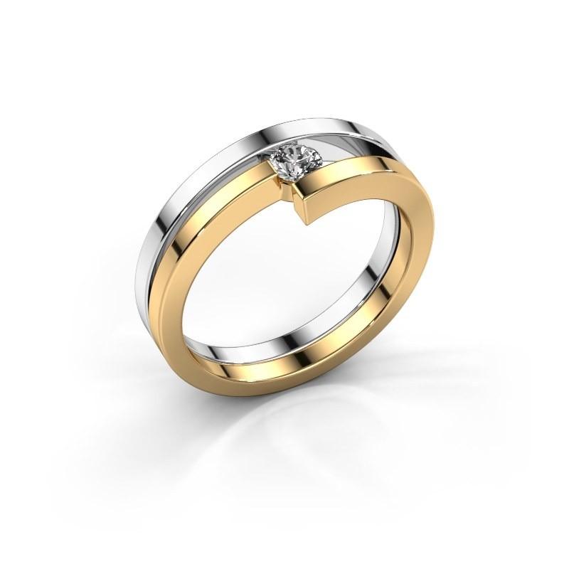 Ring Nikia 585 witgoud diamant 0.15 crt