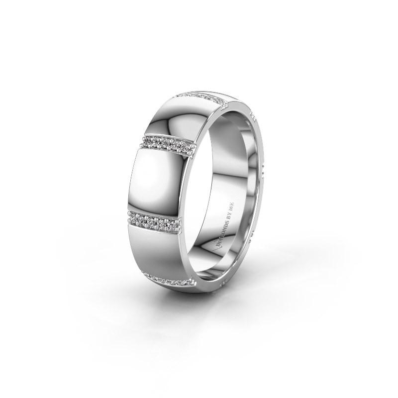 Trouwring WH2124L26B 585 witgoud diamant ±6x2 mm