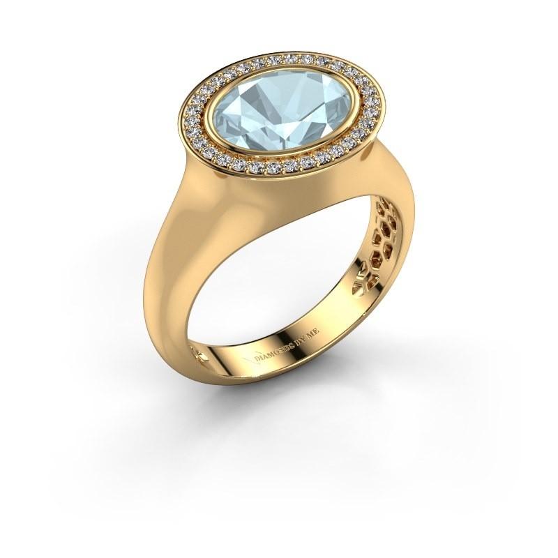 Ring Phebe 585 goud aquamarijn 10x8 mm