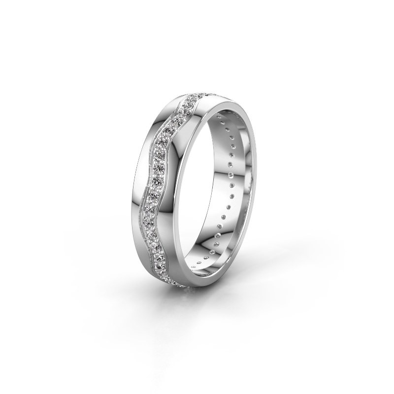 Trouwring WH0803L25AP 585 witgoud diamant ±5x1.7 mm