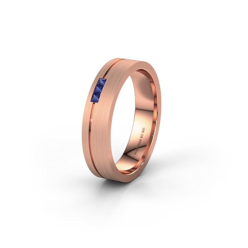 Trouwring WH0158L14X 585 rosé goud saffier ±4x1.4 mm
