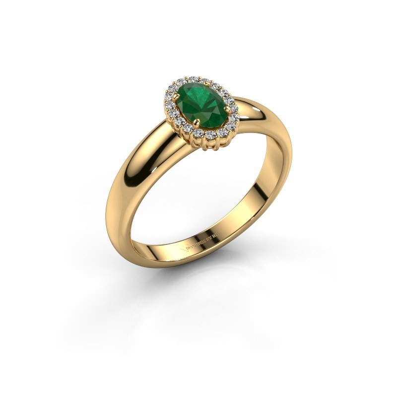 Engagement ring Tamie 750 gold emerald 6x4 mm