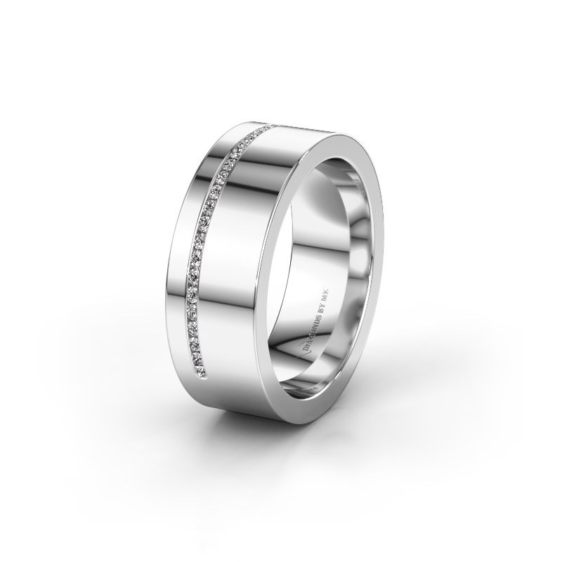 Trouwring WH0143L17BP 375 witgoud diamant ±7x2 mm
