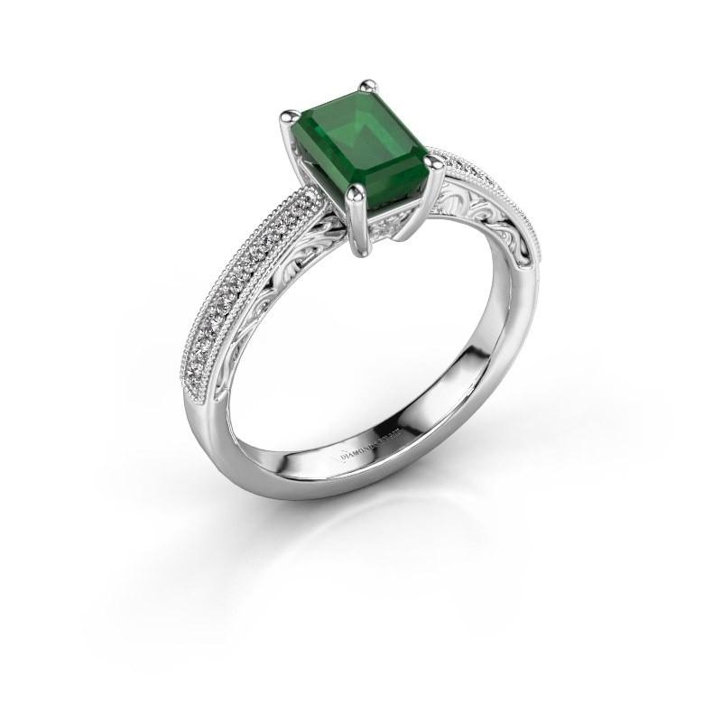 Verlovingsring Shonta EME 585 witgoud smaragd 7x5 mm