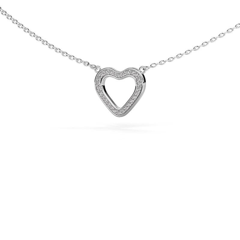 Hanger Heart 3 585 witgoud diamant 0.07 crt