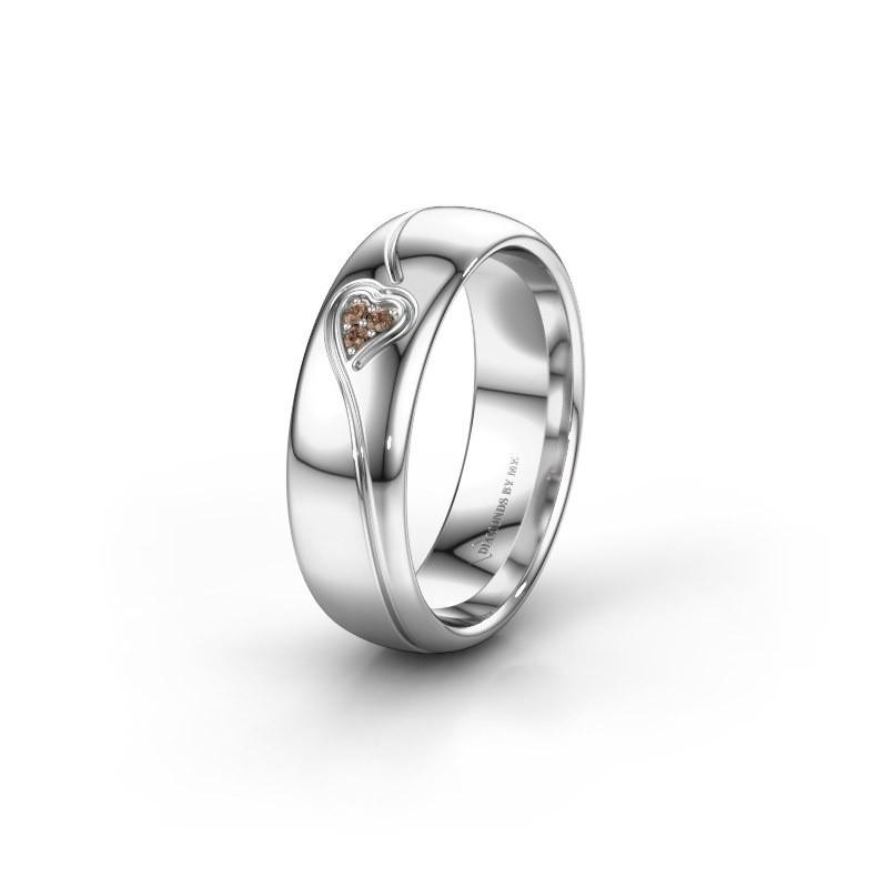 Trouwring WH0168L36AP 585 witgoud bruine diamant ±6x1.7 mm