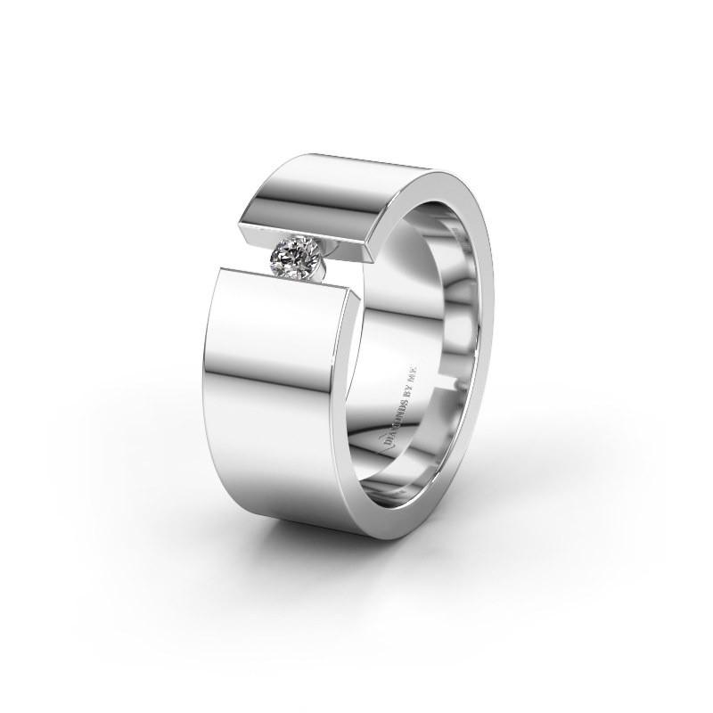 Trouwring WH0146L18BP 925 zilver diamant ±8x2 mm