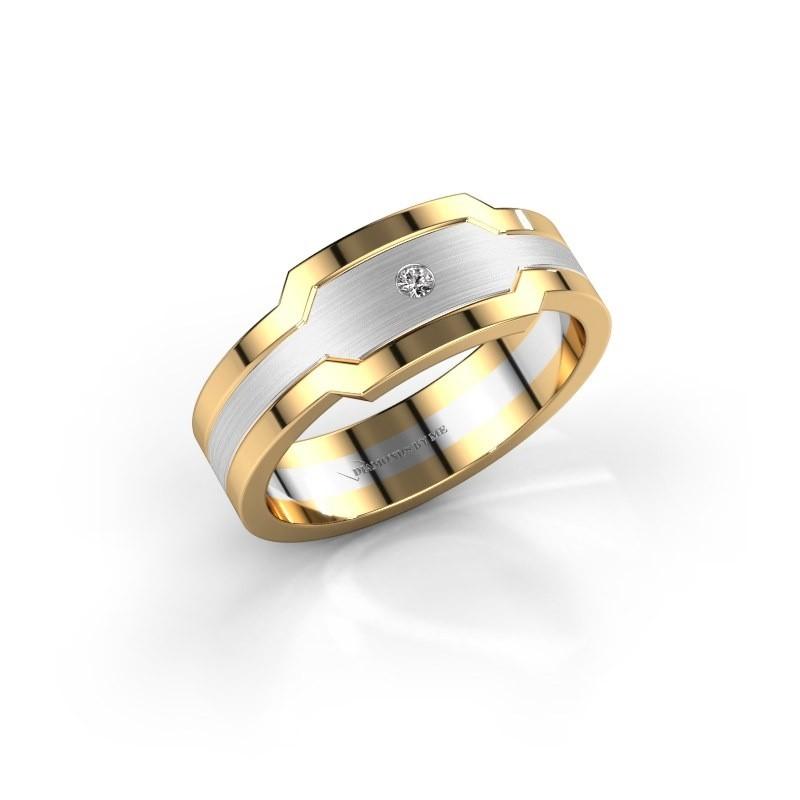 Heren ring Guido 585 witgoud diamant 0.03 crt