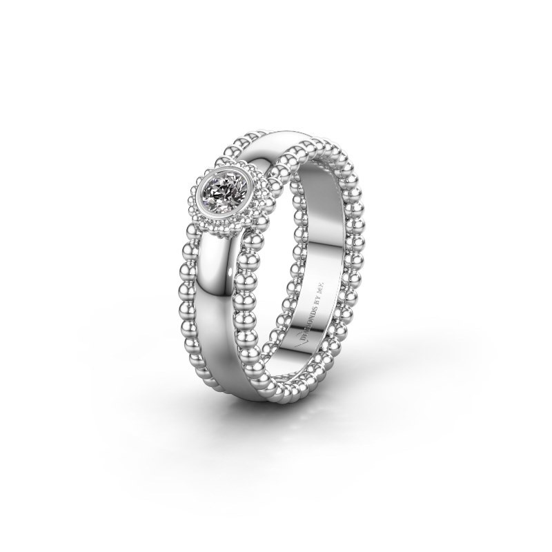 Trouwring WH3053L16A 585 witgoud diamant ±6x1.7 mm