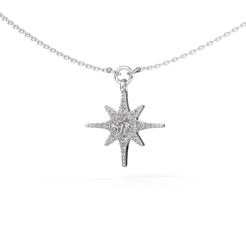 Halsketting Star 585 witgoud diamant 0.29 crt