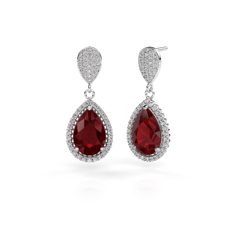 Drop earrings Cheree 2 585 white gold ruby 12x8 mm