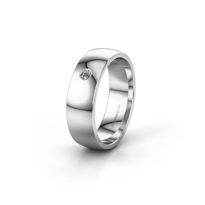 Trouwring WH0101L26AP 585 witgoud diamant ±6x1.4 mm