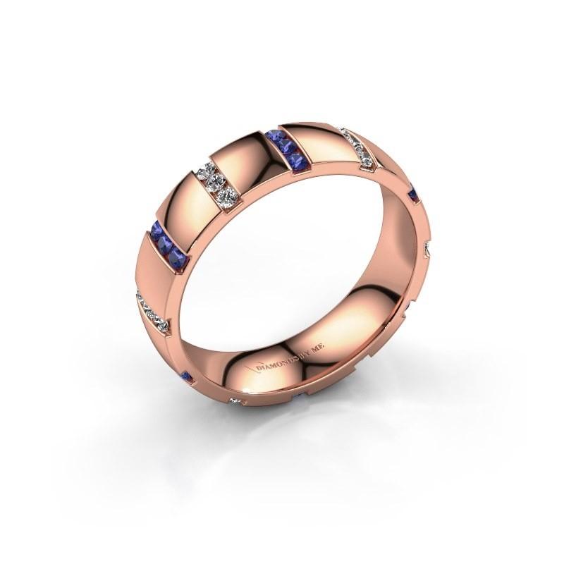 Huwelijksring Juul 585 rosé goud saffier ±5x1.8 mm