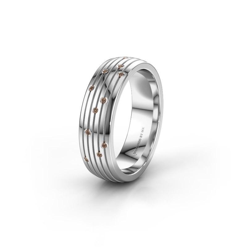 Trouwring WH0150L26A 950 platina bruine diamant ±6x1.7 mm
