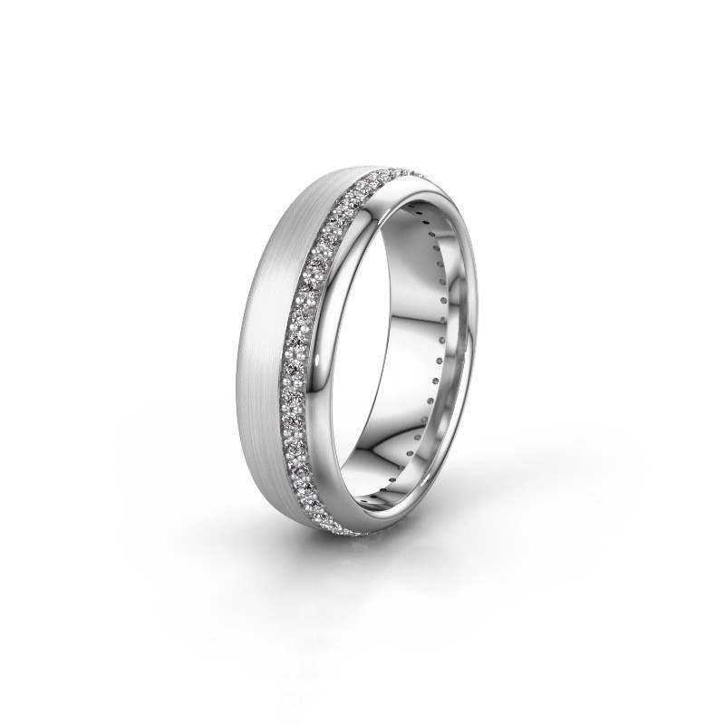 Trouwring WH0303L36BMP 585 witgoud diamant ±6x2 mm
