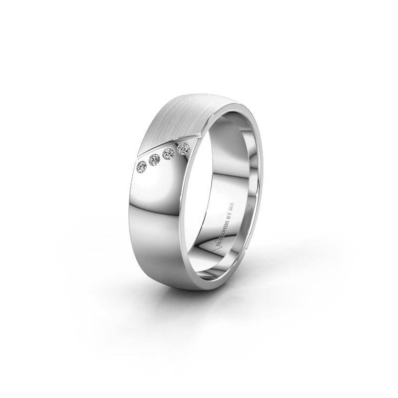 Trouwring WH1201L26SAPM 585 witgoud diamant ±6x1.7 mm