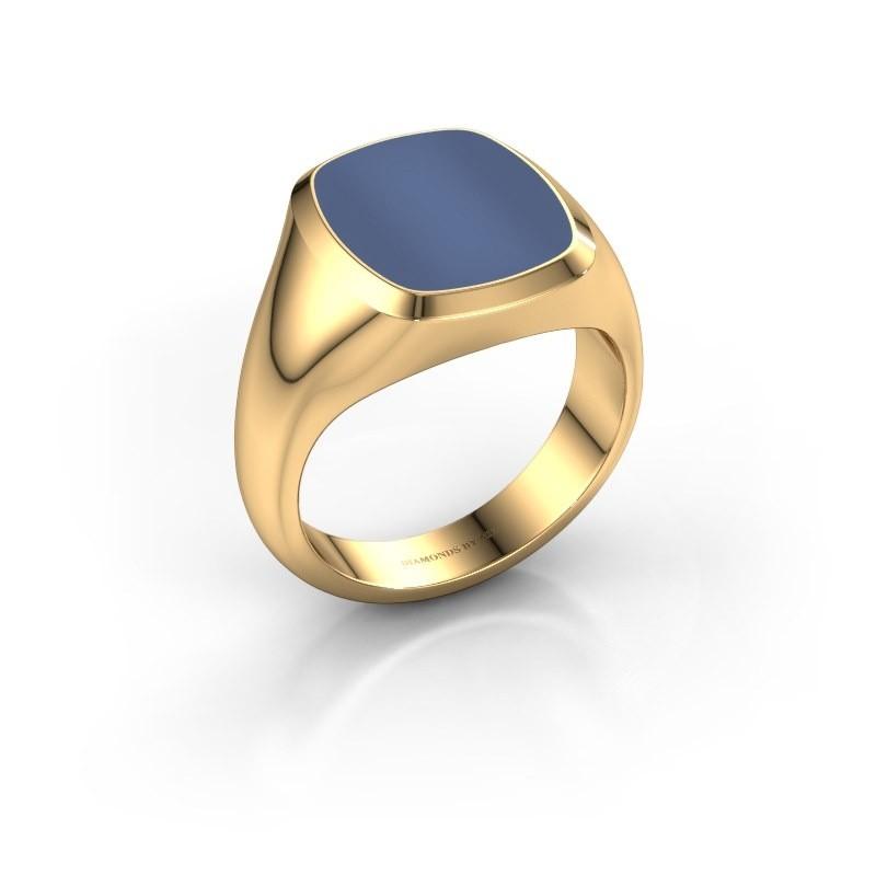 Zegelring Benjamin 3 585 goud blauw lagensteen 14x11 mm
