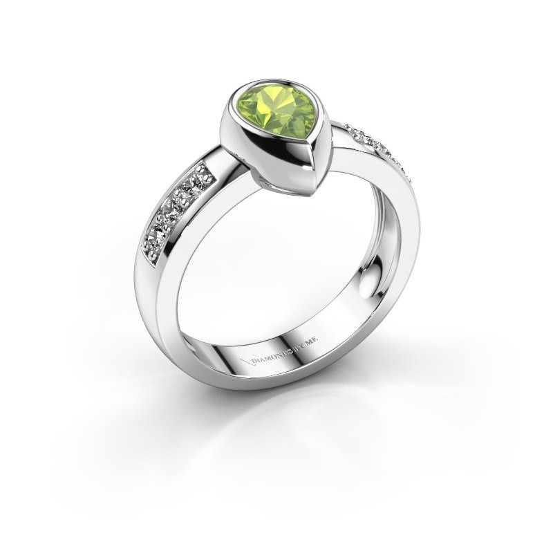 Ring Charlotte Pear 585 witgoud peridoot 8x5 mm