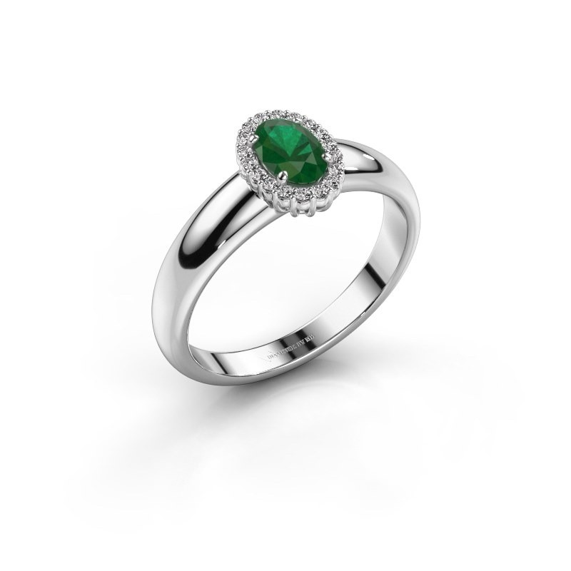 Engagement ring Tamie 925 silver emerald 6x4 mm